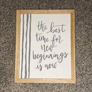 New Beginnings hanging sign